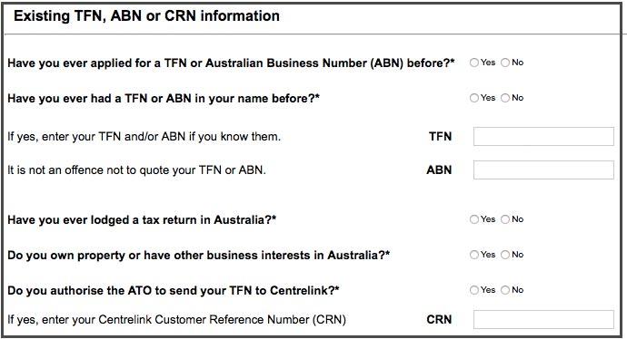 Australische TFN beantragen Schritt 3