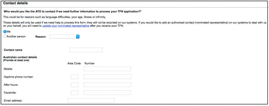 Australische TFN beantragen Schritt 5